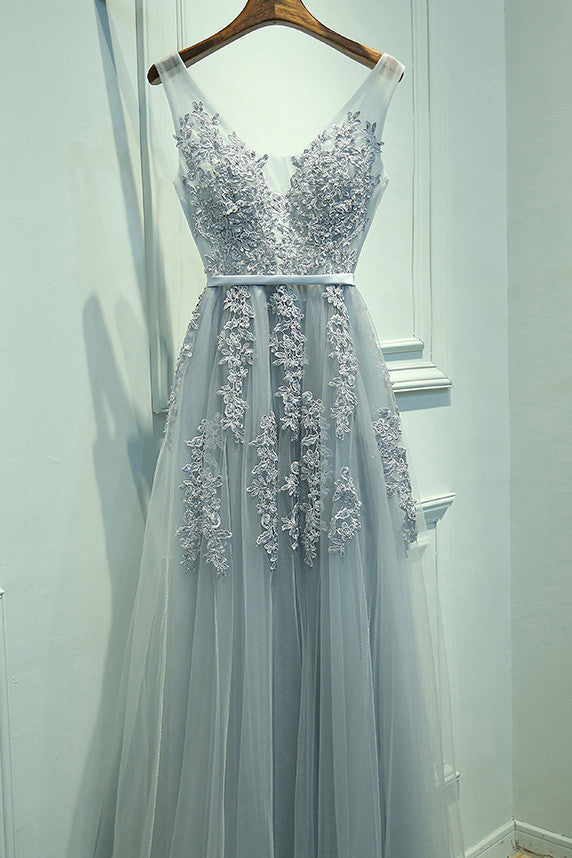 Gray Tulle Long V-neck Evening Dresses, A Line Applique Prom Dress OKP166