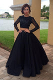 Long Sleeves Two Pieces Plus Size Prom Dresses For Teens,Modest Formal Evening Dresses OK173