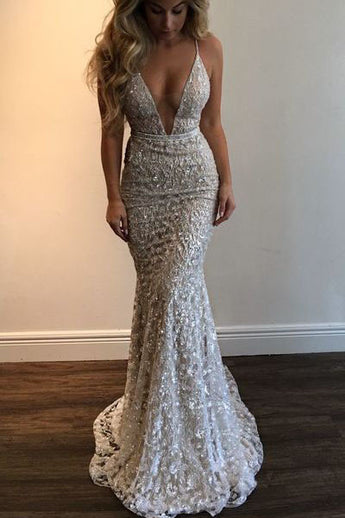 Mermaid 2017 Spaghetti Straps Prom Dress,Beading Lace V-neck Prom Dress Sexy Wedding Dress OK171
