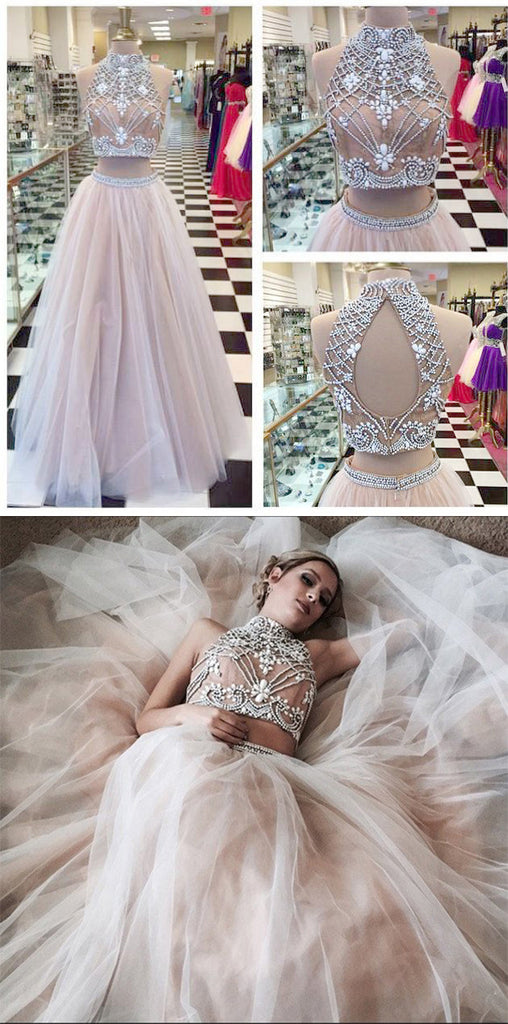 Two Piece A line Tulle Beading Pretty High Neck Prom Dresses,2 pieces Evening Dresses OK176