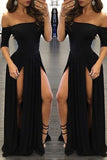 Shevny Sexy Chiffon Off-the-shoulder Half-Sleeve Black Prom Dresses With Split OK172