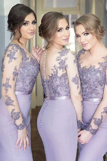 Long Sleeves Mermaid Lilac Sexy Long Bridesmaid Dress,Pretty Plus Size Bridesmaid Dress OK172