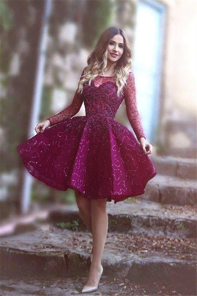 Long Sleeves Sparkly Prom Dresses,Short Purple Homecoming Dress,Sweet 16 Dress OK472