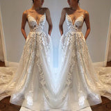 Sexy Deep V neck Lace Backless Bridal Dresses,Spaghetti Straps Beach Long Wedding Dress OK242