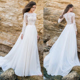 Elegant Lace Chiffon ALine Simple Long Sleeves Beach Wedding Dresses Plus Size OK241