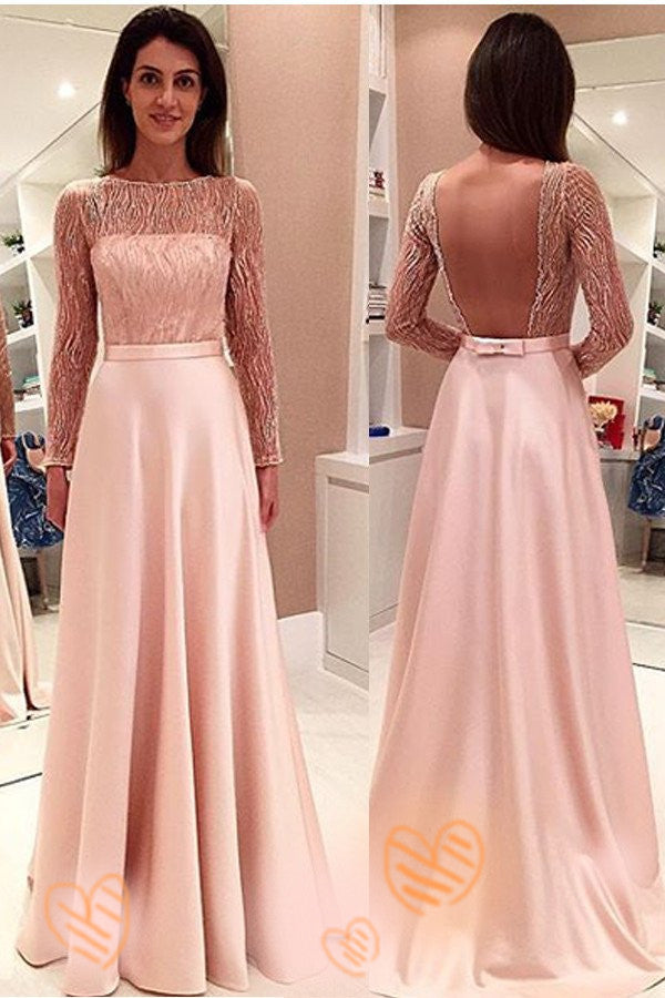 Pink Long Sleeves Backless Girly Cute Simple Cheap Prom Dresses K677