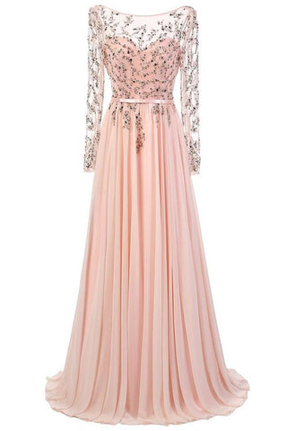 Long Sleeves Lace Pink Chiffon A-line Beading Open Back Prom Dresses K692