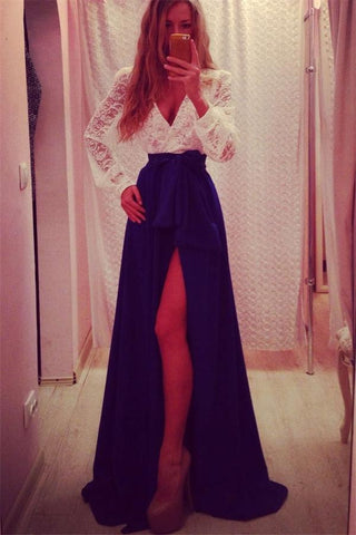 V-neck Long Sleeves Royal Blue Chiffon Lace Elegant Prom Dresses K689