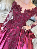 Long Sleeves Lace Appliques Burgundy Court Train Ball Gown Prom Dresses OKS8