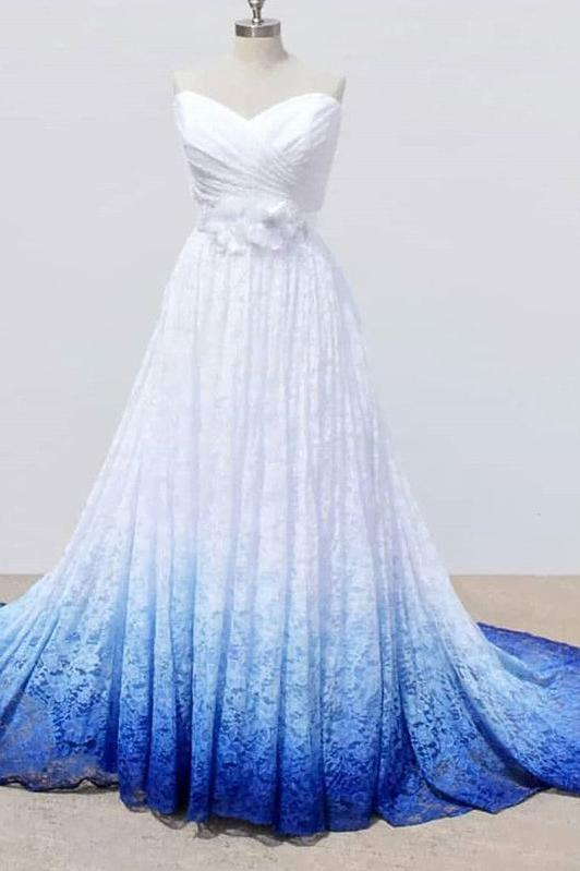 White and Blue Sweetheart Lace Wedding Dress, Ombre Wedding Dresses with Flowers OKQ69