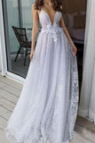 White Deep V Neck Beach Wedding Dresses Spahetti Straps Lace Bridal Dresses OKP89