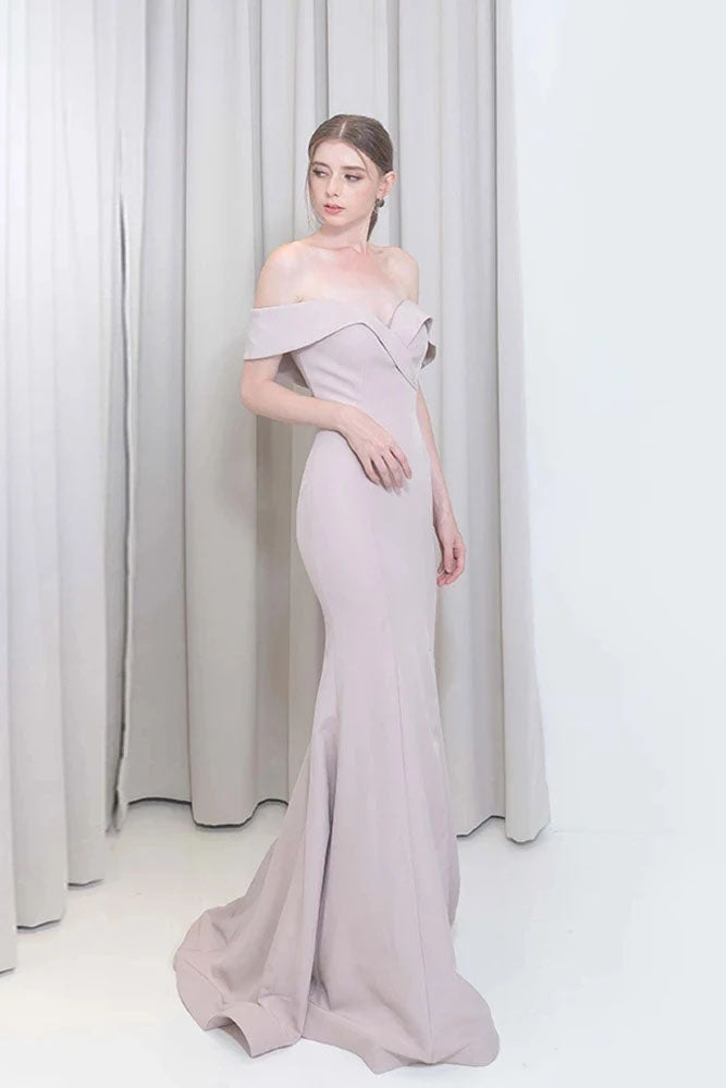 Sexy Long Mermaid Prom Dresses Off the Shoulder Knitting Women Party Gown OKW72