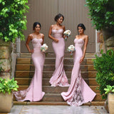 New Arrival Pink 2017 Spaghetti Straps Lace High Quality Mermaid Long Bridesmaid Dresses OK345