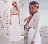 Two Pieces Long Sleeves Lace Beach Wedding/Bridal Dresses,Elegant White Sexy Wedding Gown OK261