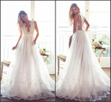 Modest A Line Chiffon V-neck Long Appliqued Wedding Dresses,Custom Made Beach Wedding Dress OK268