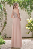 Rose Gold A Line Backless Bridesmaid Dresses,Sequins Chiffon Cheap Beach Bridesmaid Dress OKI11