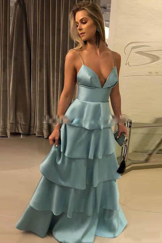 A-line Spaghetti Straps Sleeveless Layers Long Prom Dresses OKS53