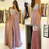 Spaghetti Strap Dusty Pink Appliques Prom Dresses with Slit Lace Bodice OKU2