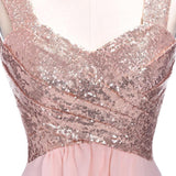 Rose Gold A Line Spaghetti Straps Prom Gown Backless Sequins Chiffon Bridesmaid Dress OKI10
