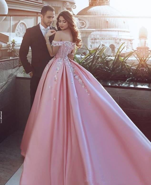 Pink Off the Shoulder Ball Gown Lace Appliques Satin Prom Dress OK903
