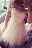 Pink Homecoming Dress,Lace Homecoming Dresses,Cheap Homecoming Gowns,Tulle Prom Dresses,Sweet 16 Dress,Cute Prom Dresses,Long Sleeves Homecoming Dresses