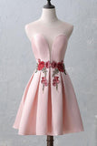 Short Homecoming Dress,Open Back Homecoming Dress,Pink Prom Dresses,Appliques Homecoming Dresses,Satin Prom Dresses,Graduation Dresses,Sweet 16 Dresses