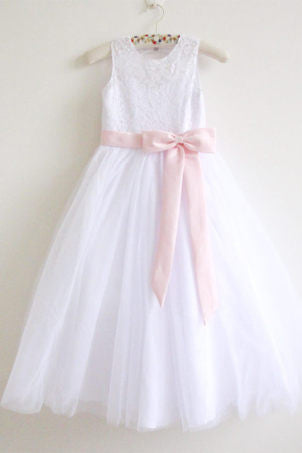 White Lace Flower Girl Dress Pink Sash Baby Girls Dress Lace Tulle White Flower Girl Dress OK210