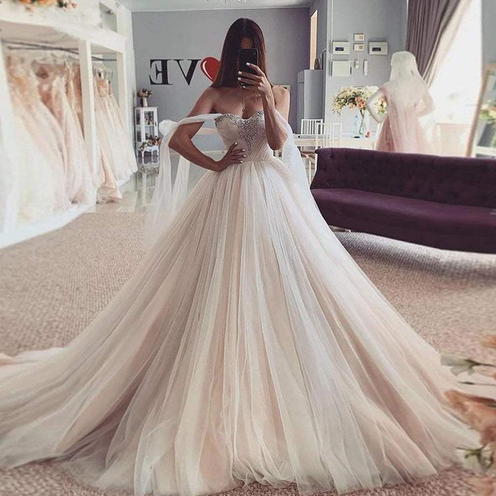 Charming Tulle Off the Shoulder Ball Gown Wedding Dresses With Beading OKV63