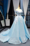 Light Blue Off the Shoulder Ball Gown Prom Dresses with 3D Flowerss OKV2