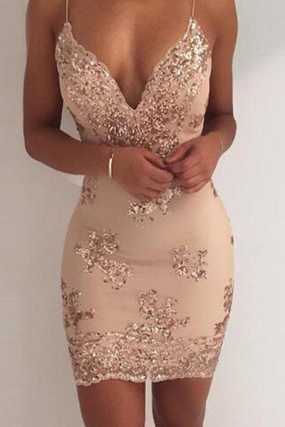 Sexy Sequin Sheath Spaghetti Straps Homecoming Dress,Cocktail Party Dresses OKD49