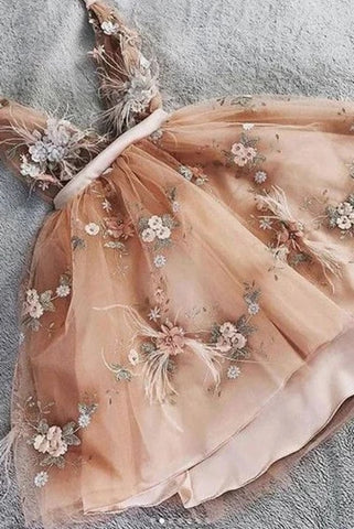 Princess V neck Tulle Homecoming Dress with Handemade Flower, Cute Tulle Prom Dress OKU51