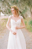 Elegant Wedding Dresses,A Line Wedding Dress,Cap Sleeve Wedding Gown,Chiffon Wedding Dresses,Pleat Wedding Gown,Beach Wedding Dress