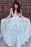 Spaghetti Strap Beaded Lace Prom Dress, Charming Long Prom Gown OKU21