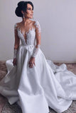 A Line Long Sleeve Satin Appliques Wedding Dresses,Cheap Long Bridal Dresses OKH77