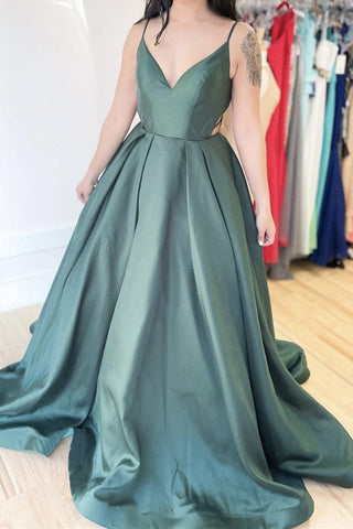 Simple A Line V Neck Green Satin Long Prom Dresses, Spaghetti Straps Formal Evening Dresses OKX14