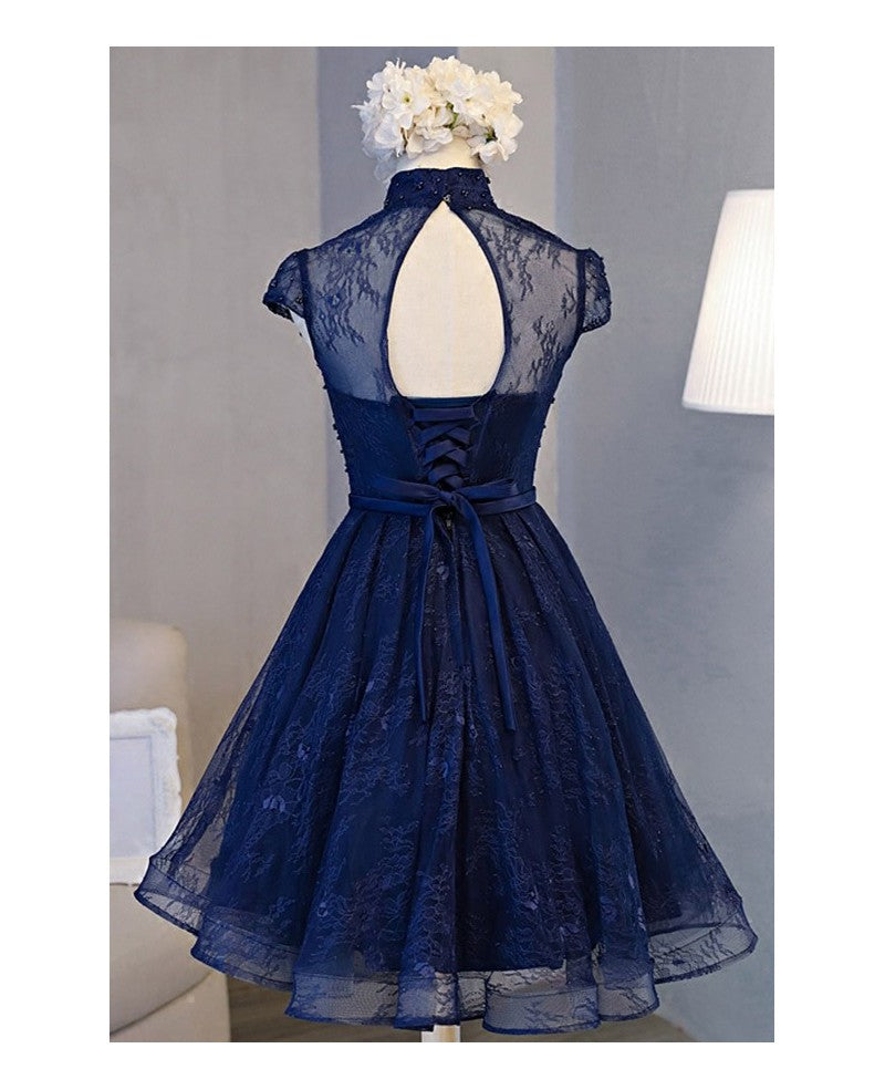 Retro A-line High Neck Short Sleeve Knee-length Navy Blue Lace Homecoming Dress OK507