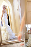 Ivory Mermaid Sweetheart Court Train Ruffle Organza Wedding Dresses OK529