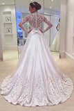 White A Line V Neck Long Sleeves Appliques Wedding Dresses With Sweep Train OK525
