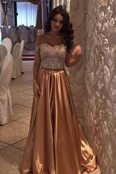 Modest A-Line Gold Off the Shoulder Sweep Train Beading Prom Dress OK145