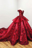 Charming Red Ball Appliques Gown Prom Dress With Beads, Quinceanera Dresses OKF37