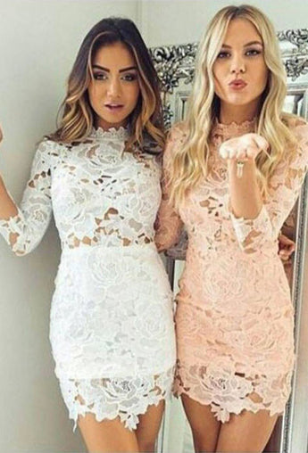 Sexy Homecoming Dresses,Sheath Homecoming Dresses,Lace Homecoming Dresses,Short Prom Dresses,Pink Homecoming Dresses,3/4 Sleeves Prom Dresses,White Homecoming Dress,Cocktail Dresses
