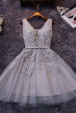 Gray Homecoming Dresses,Princess Homecoming Dresses,Lace Homecoming Dresses,Appliques Prom Dresses,Gray Prom Dresses,Tulle Prom Dresses,Party Dresses for Girls