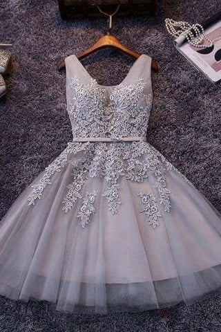 c8d2e7e0477 Princess Gray V-neck Lace Appliqued Tulle Short Homecoming Prom ...