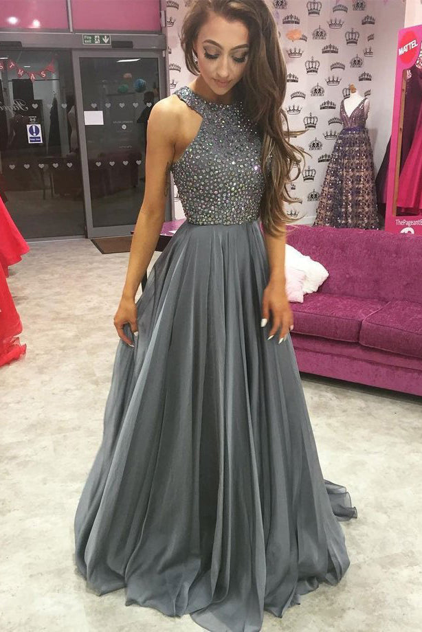 O-Neck Prom Dresses,Beading Prom Dress,Cheap Prom Dresses,Grey Prom Dress,Evening Dress For Women