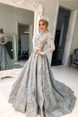 Long Sleeve Grey Lace A Line Long Evening Prom Dress for Teens OKG90