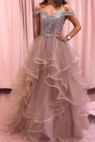 Rhinestones Layered Off the Shoulder Prom Dresses Rose Pink Tulle Party Dresses OKS12