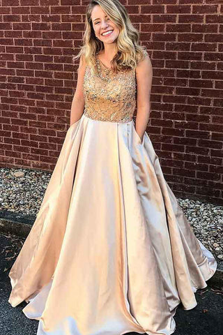 37e76cdd64e6 Stylish Prom Dresses,A-Line Prom Gown,Satin Prom Dress,Beading Prom