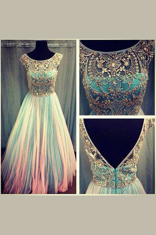 Unique Prom Dresses,Long Prom Dresses,Backless Prom Dresses,Beading Prom Dress,Tulle Prom Gowns,Prom Dresses For Girls