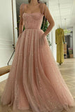 Pink Sequin Long Formal Prom Dress, Tulle A Line Spaghetti Straps Evening Gown Dress OKW98