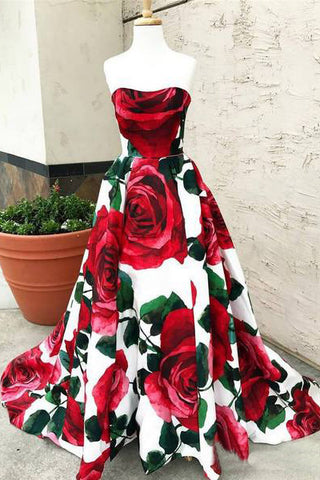 Rose Red Floral Long Prom Dresses with Pockets Strapless Evening Gown OKI64